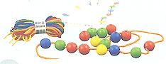 Bote de bolas para ensartar 35mm (60 piezas mas 10 cordones)