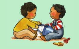 Intenta coger juguetes que tienen otros niños
