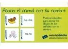 Asocia el animal con su nombre. Material educativo para asociar los dibujos de los animales con su nombre