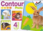 Contour photo. Animales conejo. Puzzle