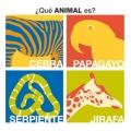 �Que animal es? cebra, papagayo, serpiente y jirafa