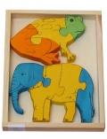 Puzzle - encajable de rana y elefante