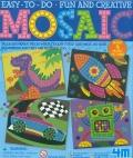 Dibujos en mosaico (Dinosaurio, cohete, coche de carreras y robot)
