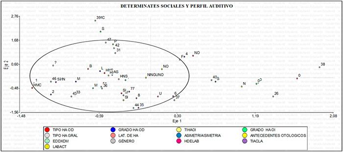 Grafica 3. Análisis de correspondencia múltiple para los determinantes sociales y el perfil auditivo.