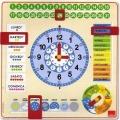 Grande orologio calendario in legno