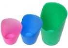 Paquete de 3 vasos de plástico flexible con recorte