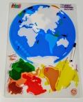 Continentes del mundo láminas translúcidas