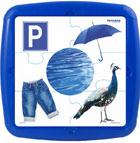 Plastic puzzle color azul