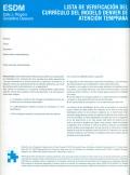 Lista de verificación del currículo del modelo Denver de Atención Temprana (ESDM) (15 ejemplares)
