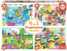 4 in 1 Progressive Puzzle. Día en la escuela