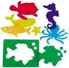 Plantillas translúcidas de animales en el mar