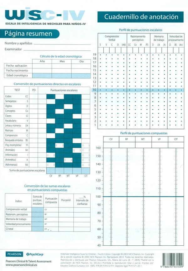 Paquete De 25 Cuadernillos De Anotación De Wisc Iv Escala De Intelige