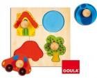 Puzzle de colores. Casa, coche, pelota y árbol