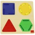 Juego de enhebrar formas geométricas