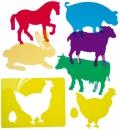 Formas de animales de granja translúcidas