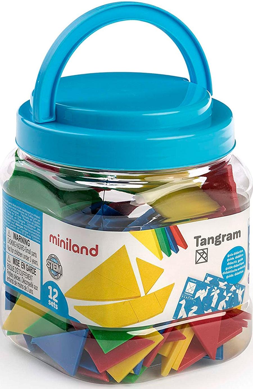 Bote Con 12 Tangram De Plastico 84 Piezas Miniland Espaciologopedico