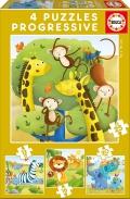4 Puzzles progresivos Animales Selva