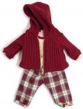 Conjunto frío pantalón con chaqueta con capucha granate (38 cm)
