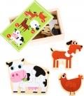 Puzles madera caja de animales de la granja