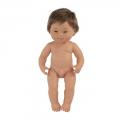 Baby Síndrome Down caucásico niño con pelo (38 cm)