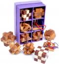 Caja con 6 rompecabezas de madera 3D