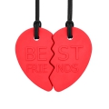 Set colgantes masticables suaves corazón dividido mejores amigos (rojo)