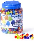 Pegs. Bote 650 pinchos 20mm. Colores fluorescentes para mosaicos